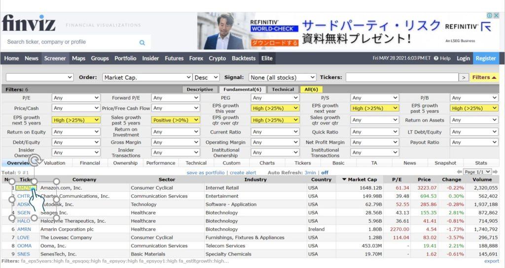 米国株(アメリカ株)の10倍株テンバガー・100倍株の見つけ方FINVIS使用法4