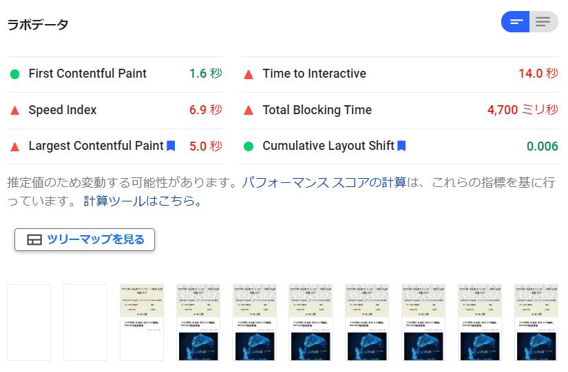 PageSpeed Insights のラボデータ